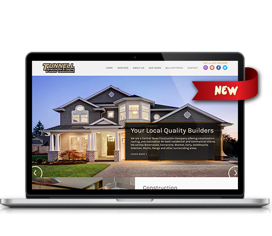 home web design. Tunnell Construction  Amarillo Website Design Web Designers 887 Media